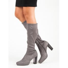 GRAY BOOTS ON A HEEL