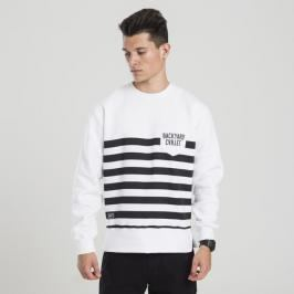 Backyard Cartel bluza sweatshirt Half Stripes Pocket crewneck white - white